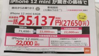 au MNP iPhone12 mini